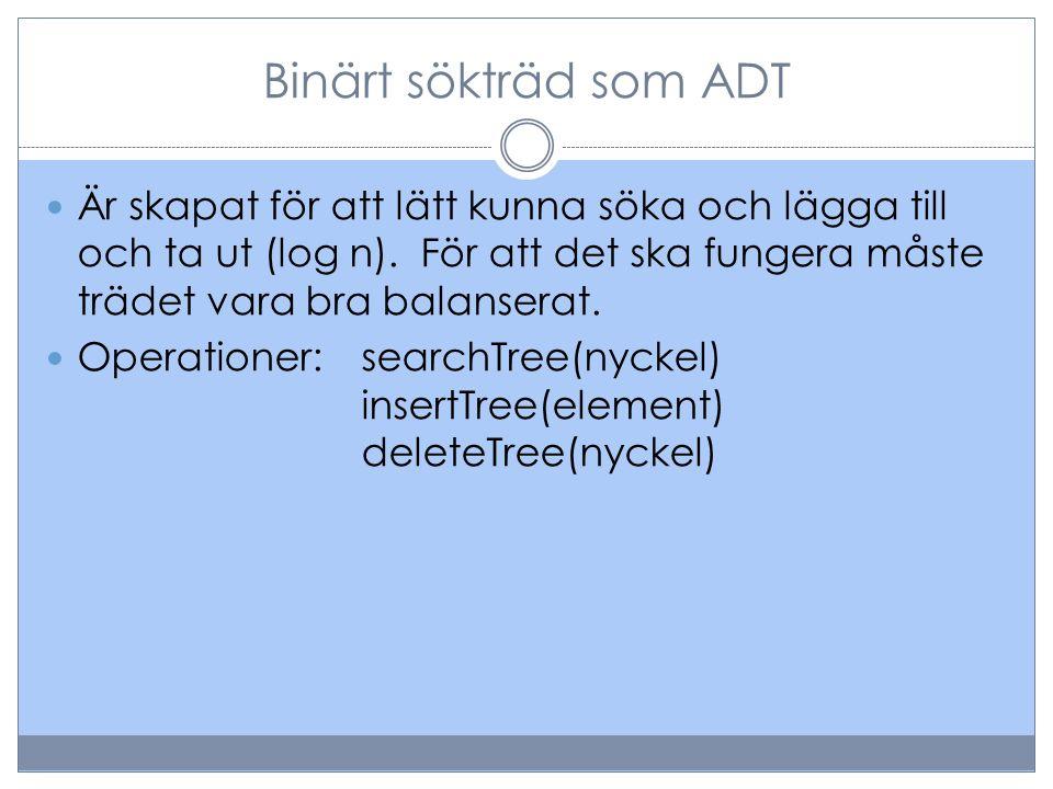 Binärt sökträd som ADT Är skapat för att lätt kunna söka och lägga till och ta ut (log n).