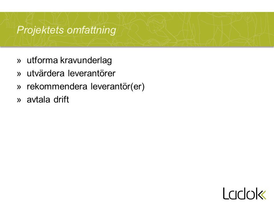 Projektets omfattning »utforma kravunderlag »utvärdera leverantörer »rekommendera leverantör(er) »avtala drift