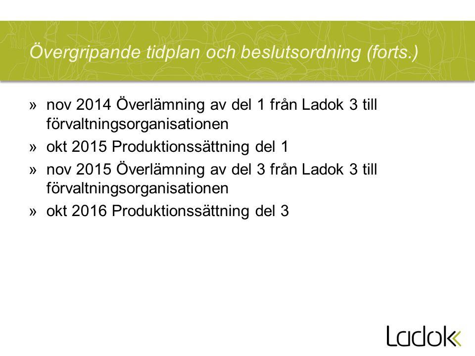Övergripande tidplan och beslutsordning (forts.) »nov 2014 Överlämning av del 1 från Ladok 3 till förvaltningsorganisationen »okt 2015 Produktionssättning del 1 »nov 2015 Överlämning av del 3 från Ladok 3 till förvaltningsorganisationen »okt 2016 Produktionssättning del 3