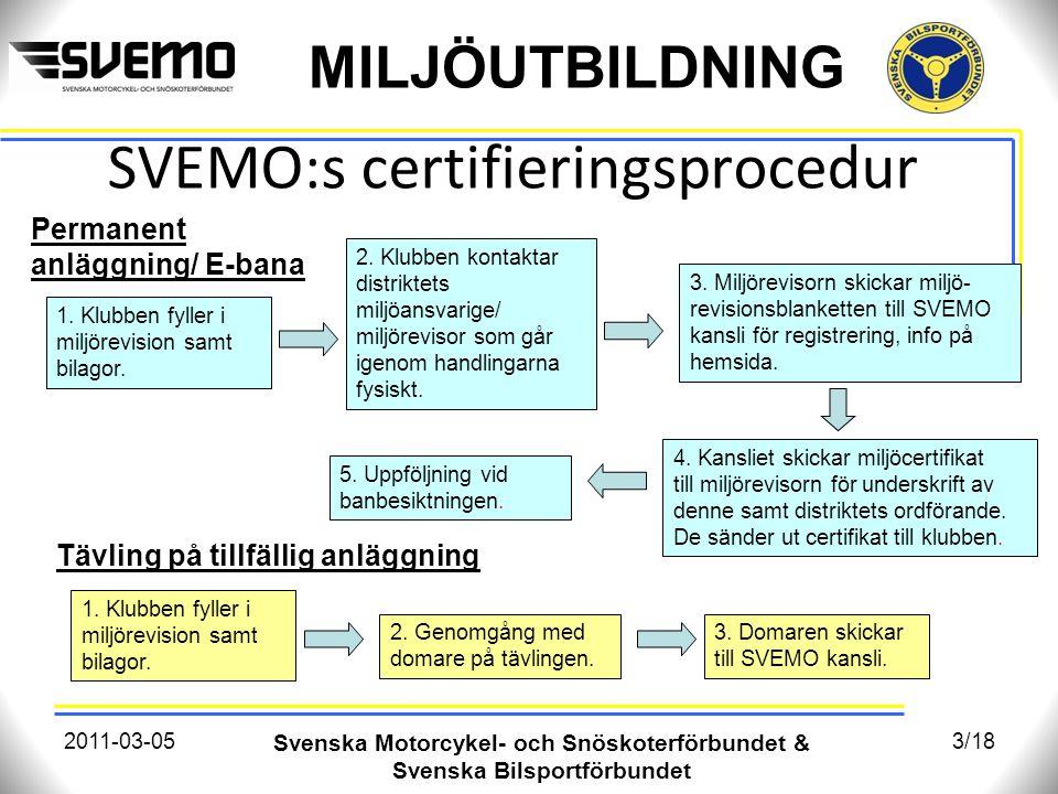 MILJÖUTBILDNING SVEMO:s certifieringsprocedur 2011-03-05 Svenska Motorcykel- och Snöskoterförbundet & Svenska Bilsportförbundet 3/18 1. Klubben fyller