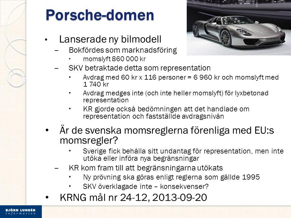 Porsche-domen Lanserade ny bilmodell ‒ Bokfördes som marknadsföring  momslyft 860 000 kr ‒ SKV betraktade detta som representation  Avdrag med 60 kr