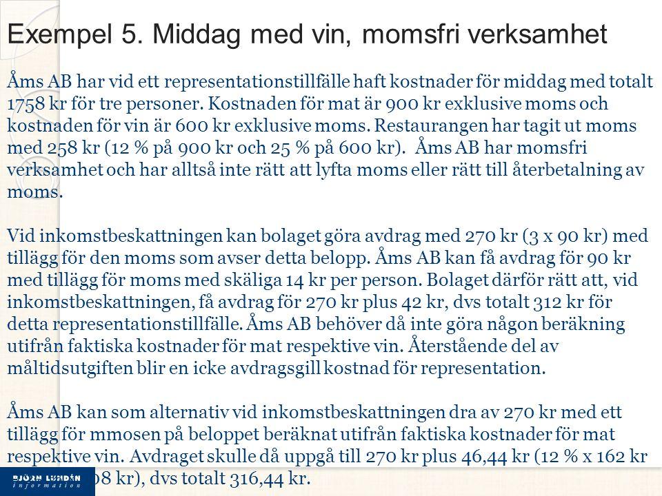 Exempel 5. Middag med vin, momsfri verksamhet Åms AB har vid ett representationstillfälle haft kostnader för middag med totalt 1758 kr för tre persone