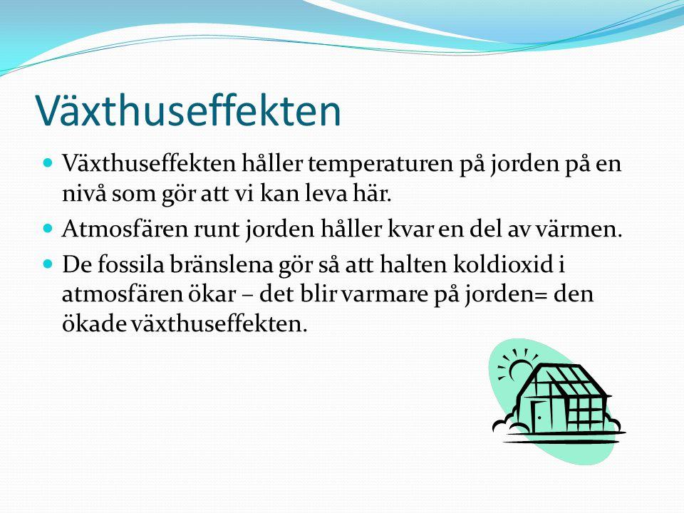 Växthuseffekten Växthuseffekten håller temperaturen på jorden på en nivå som gör att vi kan leva här. Atmosfären runt jorden håller kvar en del av vär