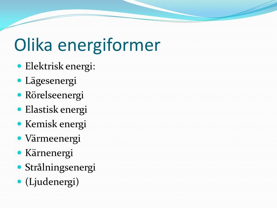 Olika energiformer Elektrisk energi: Lägesenergi Rörelseenergi Elastisk energi Kemisk energi Värmeenergi Kärnenergi Strålningsenergi (Ljudenergi)
