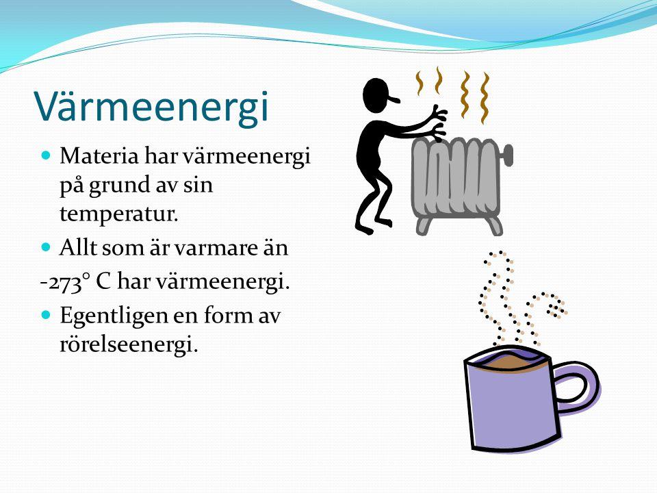 Värmeenergi Materia har värmeenergi på grund av sin temperatur. Allt som är varmare än -273° C har värmeenergi. Egentligen en form av rörelseenergi.