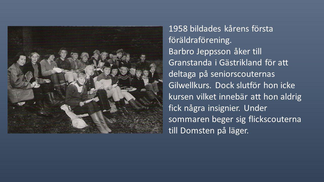 I april 1957 säljer kåren sin stuga till IOGT. På distriktetslägret Bäckhall, med 6 deltagare ifrån kåren är kanske ett av de mest spännande läger med