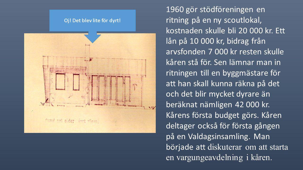 1960 gör stödföreningen en ritning på en ny scoutlokal, kostnaden skulle bli 20 000 kr.