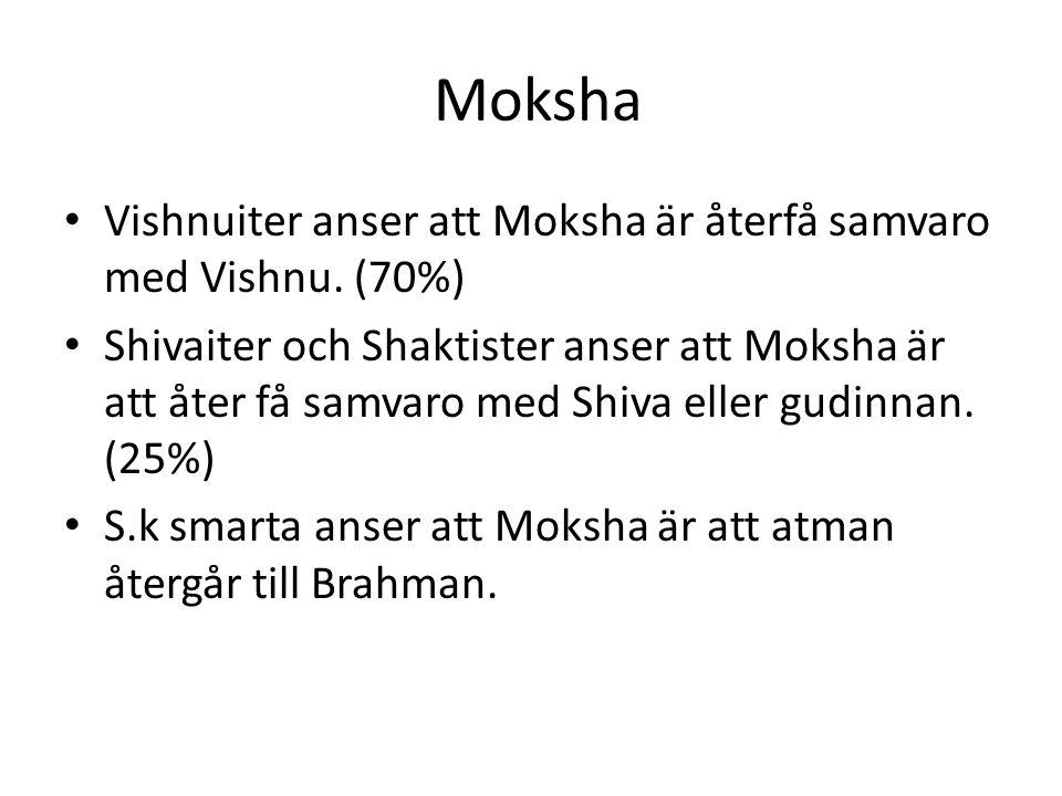Moksha Vishnuiter anser att Moksha är återfå samvaro med Vishnu. (70%) Shivaiter och Shaktister anser att Moksha är att åter få samvaro med Shiva elle