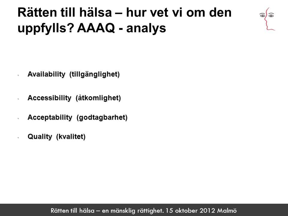 Rätten till hälsa – en mänsklig rättighet. 15 oktober 2012 Malmö Rätten till hälsa – hur vet vi om den uppfylls? AAAQ - analys ARTIKEL 15 Rätt att int