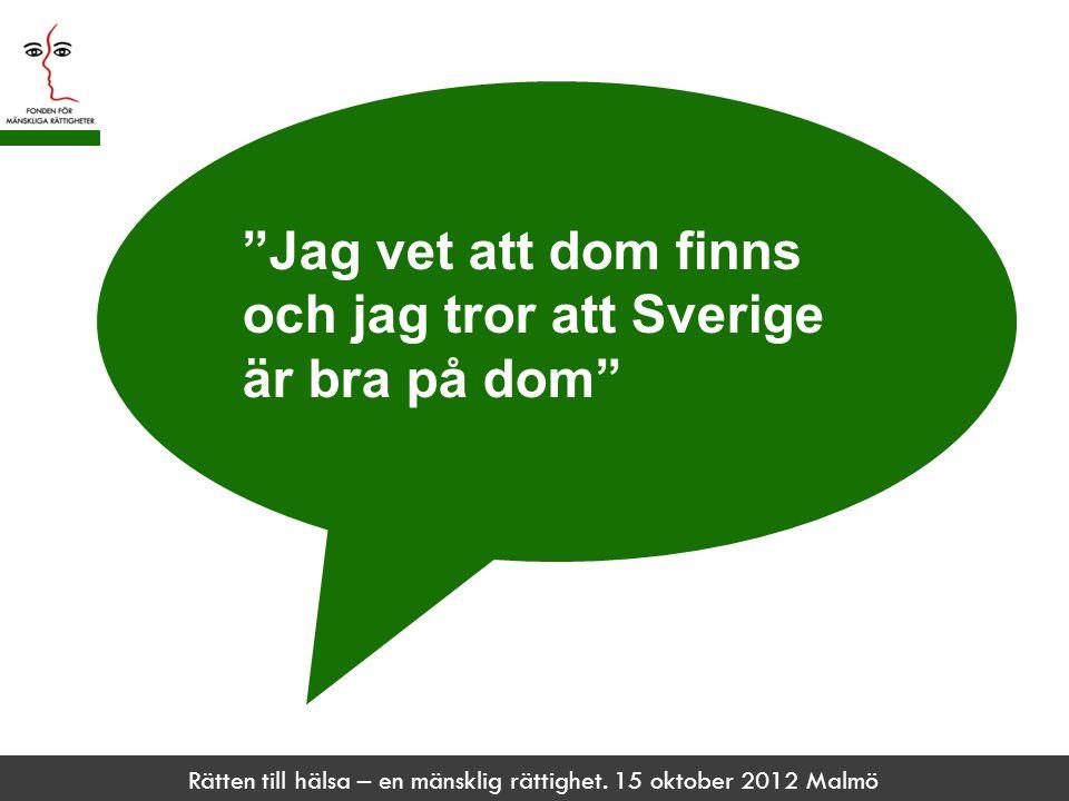 """Rätten till hälsa – en mänsklig rättighet. 15 oktober 2012 Malmö """"Jag vet att dom finns och jag tror att Sverige är bra på dom"""""""