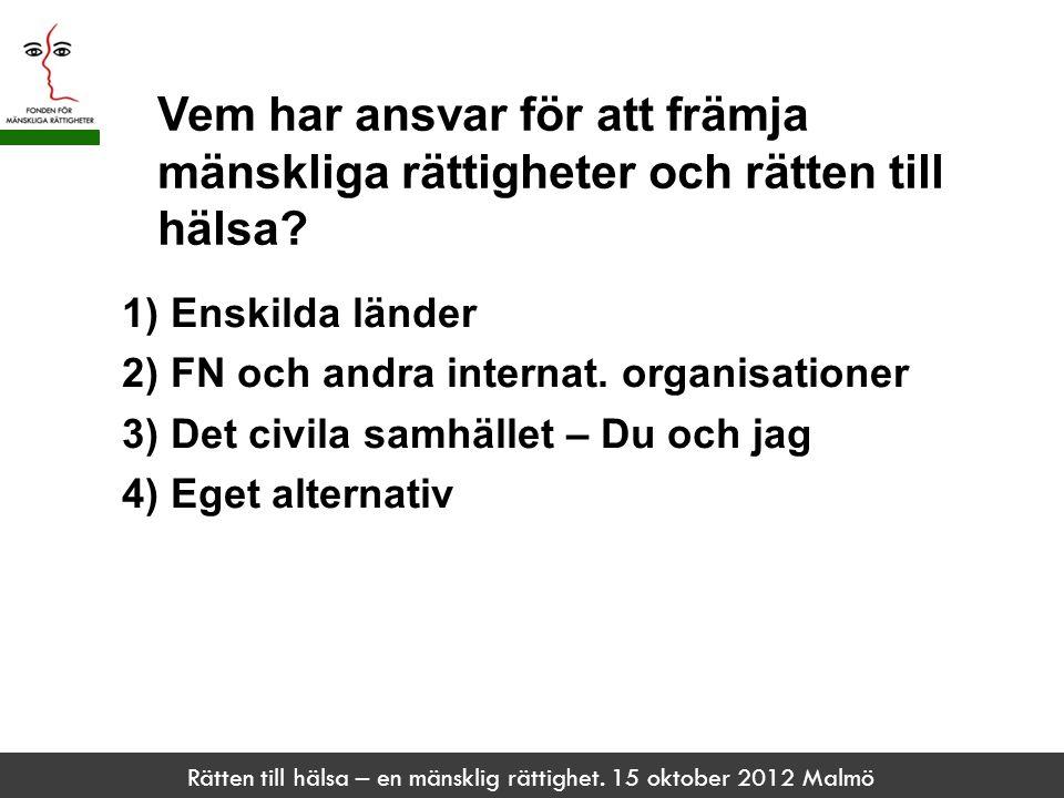 Rätten till hälsa – en mänsklig rättighet. 15 oktober 2012 Malmö Vem har ansvar för att främja mänskliga rättigheter och rätten till hälsa? 1) Enskild