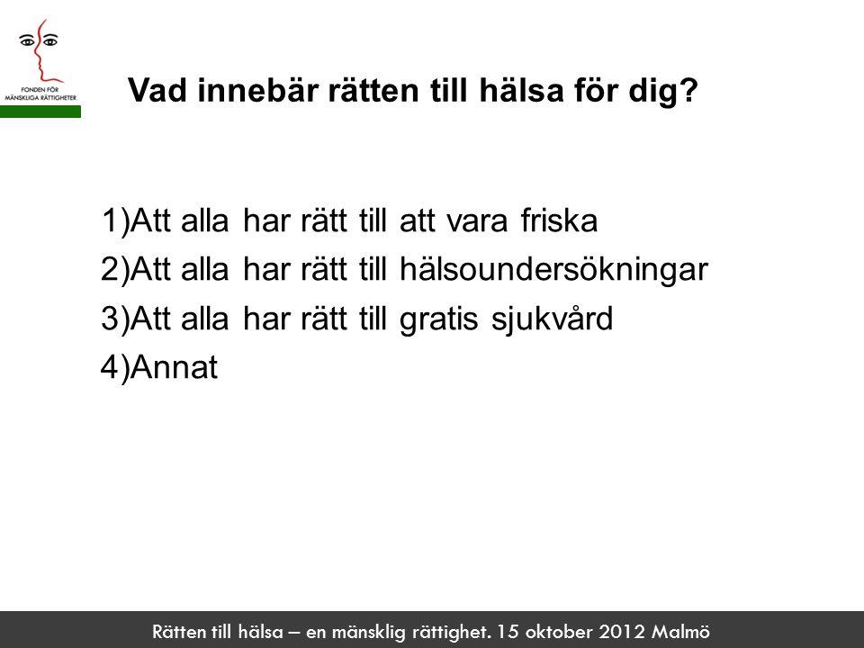 Rätten till hälsa – en mänsklig rättighet. 15 oktober 2012 Malmö Vad innebär rätten till hälsa för dig? 1)Att alla har rätt till att vara friska 2)Att