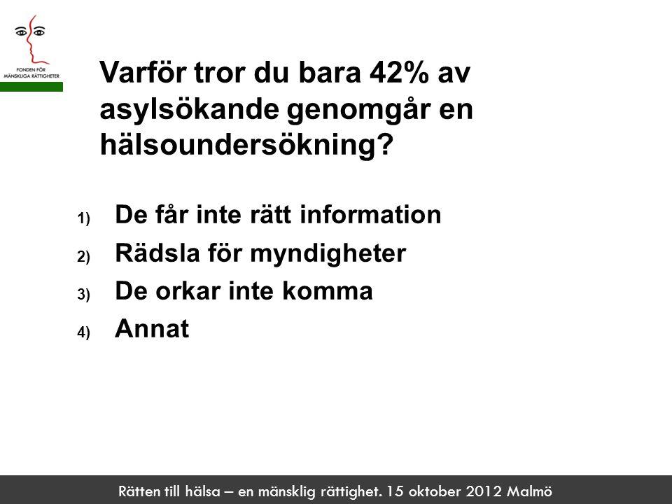 Rätten till hälsa – en mänsklig rättighet. 15 oktober 2012 Malmö Varför tror du bara 42% av asylsökande genomgår en hälsoundersökning? 1) De får inte
