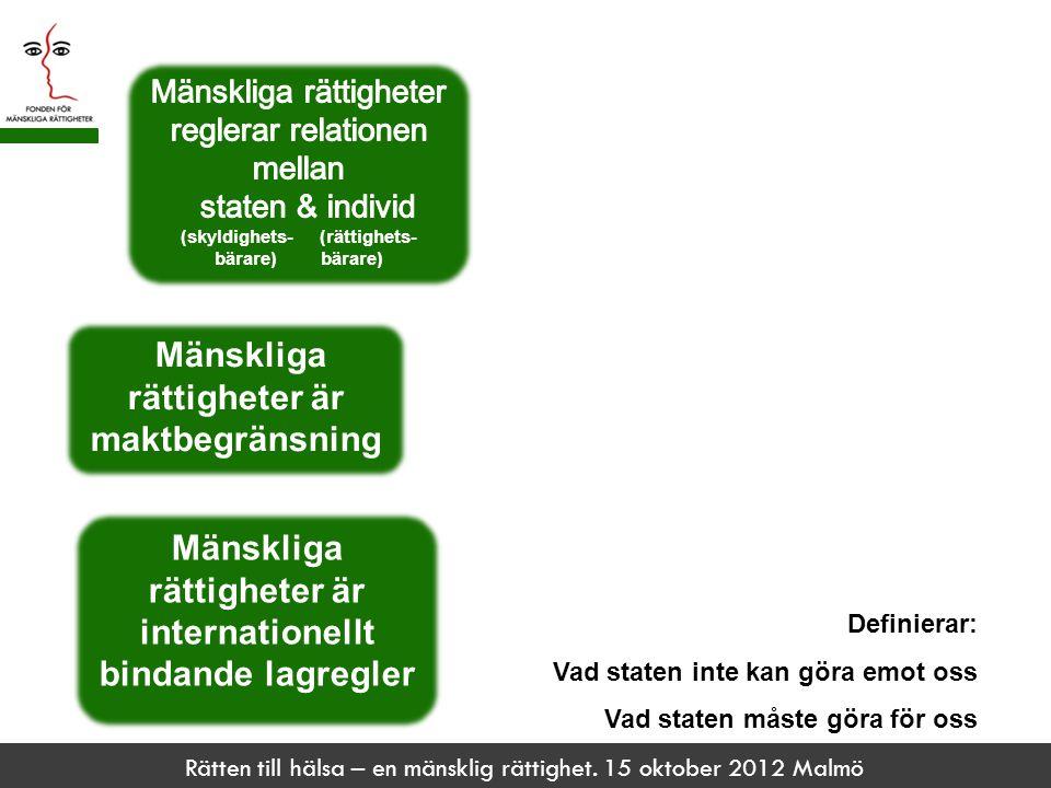 Rätten till hälsa – en mänsklig rättighet. 15 oktober 2012 Malmö Definierar: Vad staten inte kan göra emot oss Vad staten måste göra för oss Mänskliga