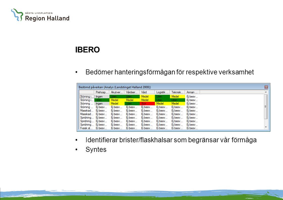 IBERO Bedömer hanteringsförmågan för respektive verksamhet Identifierar brister/flaskhalsar som begränsar vår förmåga Syntes