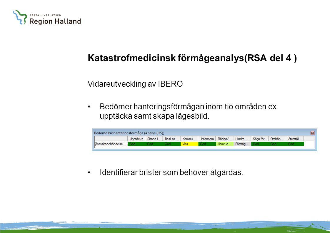 Katastrofmedicinsk förmågeanalys(RSA del 4 ) Vidareutveckling av IBERO Bedömer hanteringsförmågan inom tio områden ex upptäcka samt skapa lägesbild.