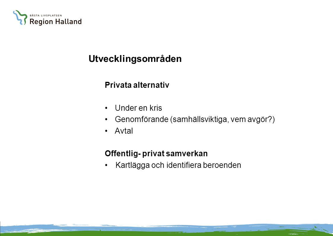 Utvecklingsområden Privata alternativ Under en kris Genomförande (samhällsviktiga, vem avgör?) Avtal Offentlig- privat samverkan Kartlägga och identifiera beroenden