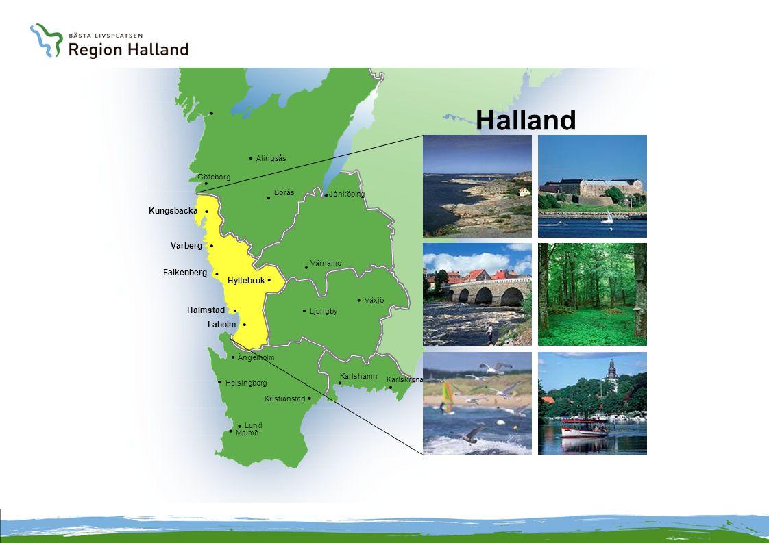 Alingsås Borås Göteborg Kungsbacka Varberg Falkenberg Halmstad Laholm Ängelholm Malmö Lund Kristianstad Karlshamn Karlskrona Ljungby Växjö Hyltebruk Värnamo Jönköping Halland Helsingborg