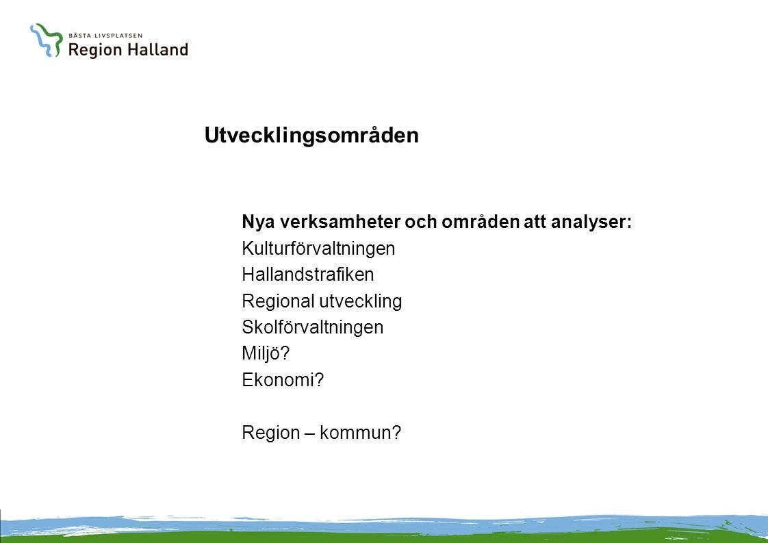 Utvecklingsområden Nya verksamheter och områden att analyser: Kulturförvaltningen Hallandstrafiken Regional utveckling Skolförvaltningen Miljö.