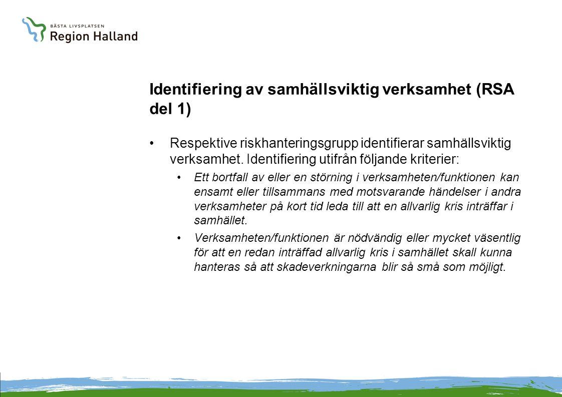 Identifiering av samhällsviktig verksamhet (RSA del 1) Respektive riskhanteringsgrupp identifierar samhällsviktig verksamhet.