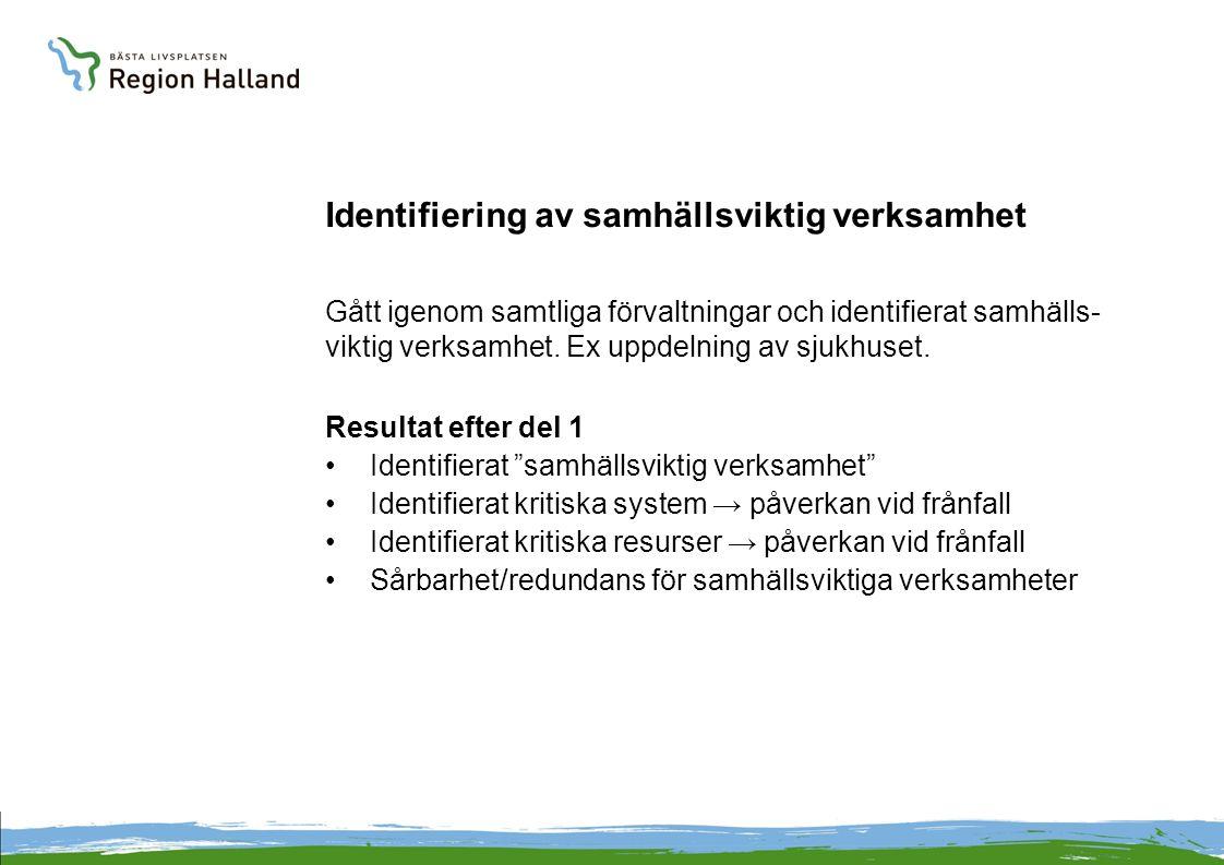 Identifiering av samhällsviktig verksamhet Gått igenom samtliga förvaltningar och identifierat samhälls- viktig verksamhet.