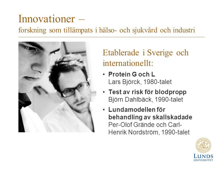 Innovationer – forskning som tillämpats i hälso- och sjukvård och industri Etablerade i Sverige och internationellt: Protein G och L Lars Björck, 1980-talet Test av risk för blodpropp Björn Dahlbäck, 1990-talet Lundamodellen för behandling av skallskadade Per-Olof Grände och Carl- Henrik Nordström, 1990-talet
