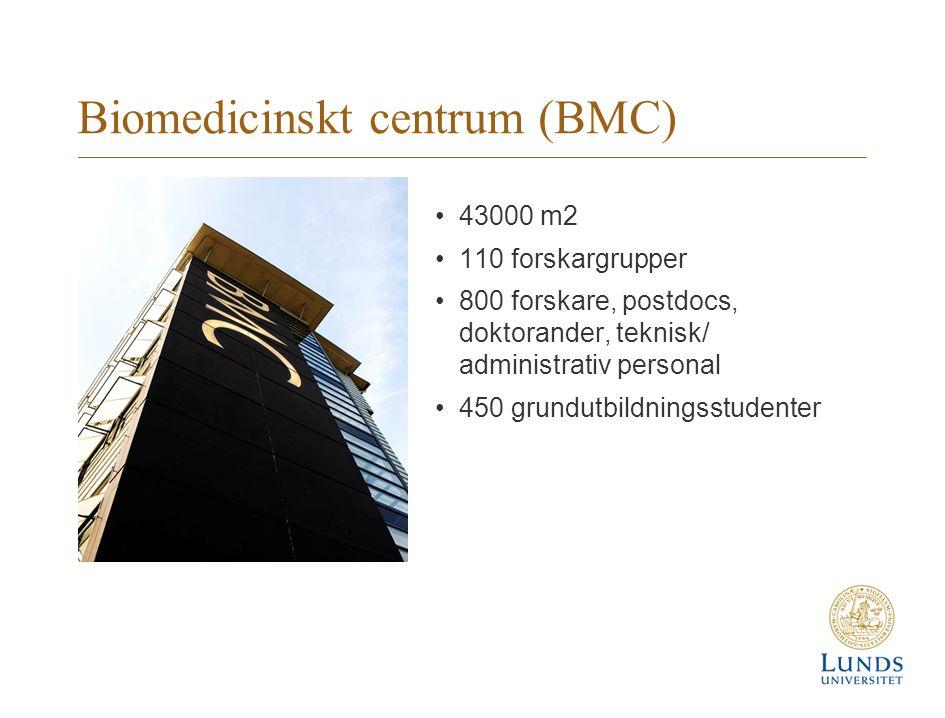 Biomedicinskt centrum (BMC) 43000 m2 110 forskargrupper 800 forskare, postdocs, doktorander, teknisk/ administrativ personal 450 grundutbildningsstudenter