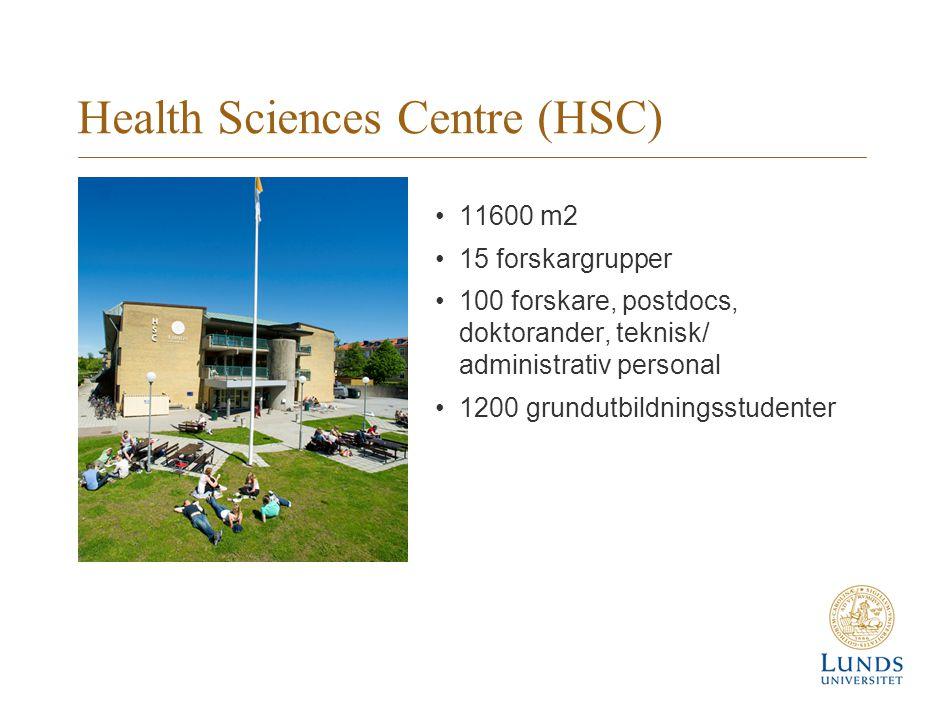 Health Sciences Centre (HSC) 11600 m2 15 forskargrupper 100 forskare, postdocs, doktorander, teknisk/ administrativ personal 1200 grundutbildningsstudenter