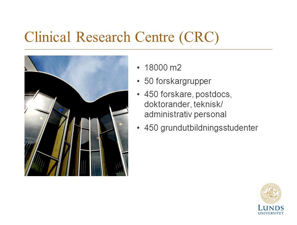 Clinical Research Centre (CRC) 18000 m2 50 forskargrupper 450 forskare, postdocs, doktorander, teknisk/ administrativ personal 450 grundutbildningsstudenter