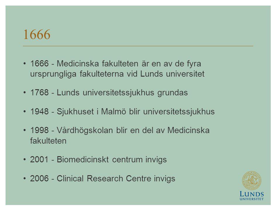 1666 1666 - Medicinska fakulteten är en av de fyra ursprungliga fakulteterna vid Lunds universitet 1768 - Lunds universitetssjukhus grundas 1948 - Sjukhuset i Malmö blir universitetssjukhus 1998 - Vårdhögskolan blir en del av Medicinska fakulteten 2001 - Biomedicinskt centrum invigs 2006 - Clinical Research Centre invigs