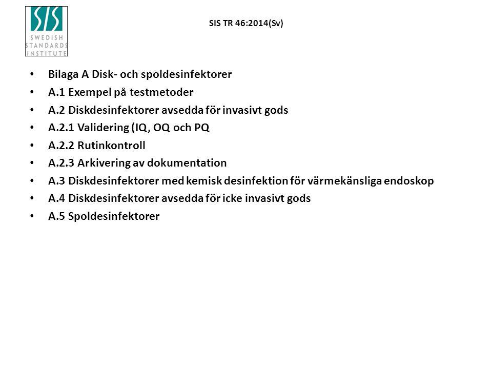 SIS TR 46:2014(Sv) Bilaga A Disk- och spoldesinfektorer A.1 Exempel på testmetoder A.2 Diskdesinfektorer avsedda för invasivt gods A.2.1 Validering (I