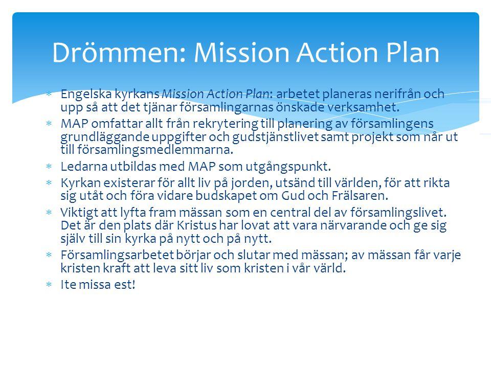  Engelska kyrkans Mission Action Plan: arbetet planeras nerifrån och upp så att det tjänar församlingarnas önskade verksamhet.  MAP omfattar allt fr