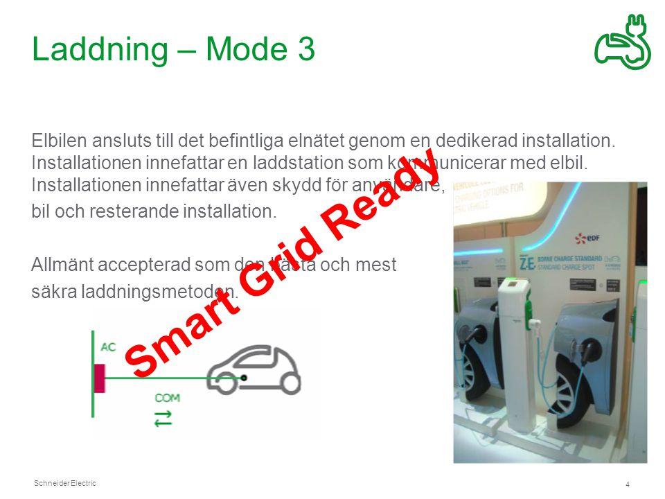 Schneider Electric 4 Laddning – Mode 3 Elbilen ansluts till det befintliga elnätet genom en dedikerad installation.