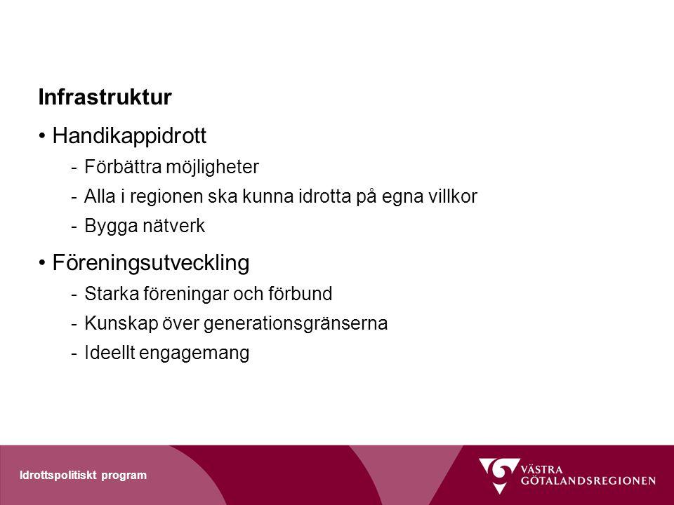 Idrottspolitiskt program Infrastruktur Handikappidrott -Förbättra möjligheter -Alla i regionen ska kunna idrotta på egna villkor -Bygga nätverk Föreni