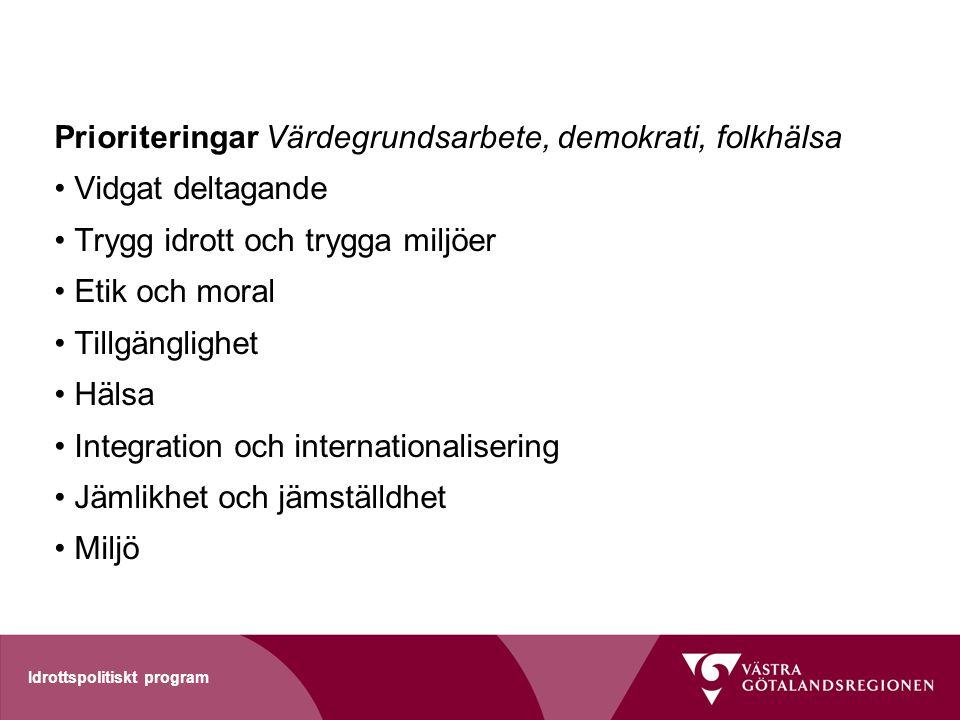 Idrottspolitiskt program Prioriteringar Värdegrundsarbete, demokrati, folkhälsa Vidgat deltagande Trygg idrott och trygga miljöer Etik och moral Tillg