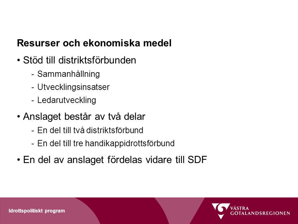 Idrottspolitiskt program Resurser och ekonomiska medel Stöd till distriktsförbunden -Sammanhållning -Utvecklingsinsatser -Ledarutveckling Anslaget bes