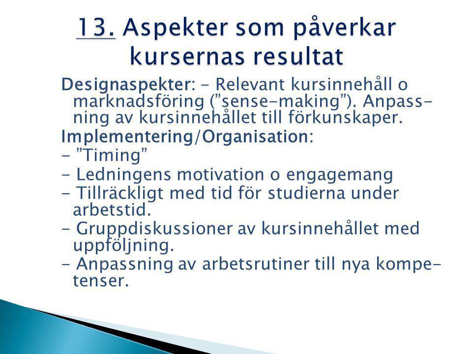 Designaspekter: - Relevant kursinnehåll o marknadsföring ( sense-making ).