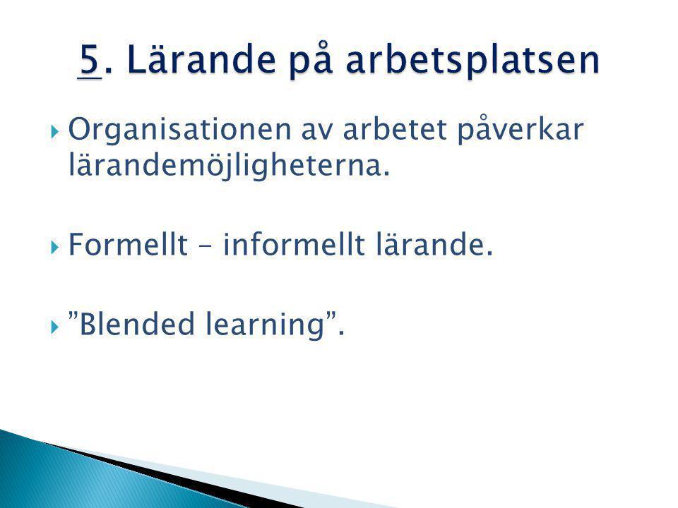  Organisationen av arbetet påverkar lärandemöjligheterna.