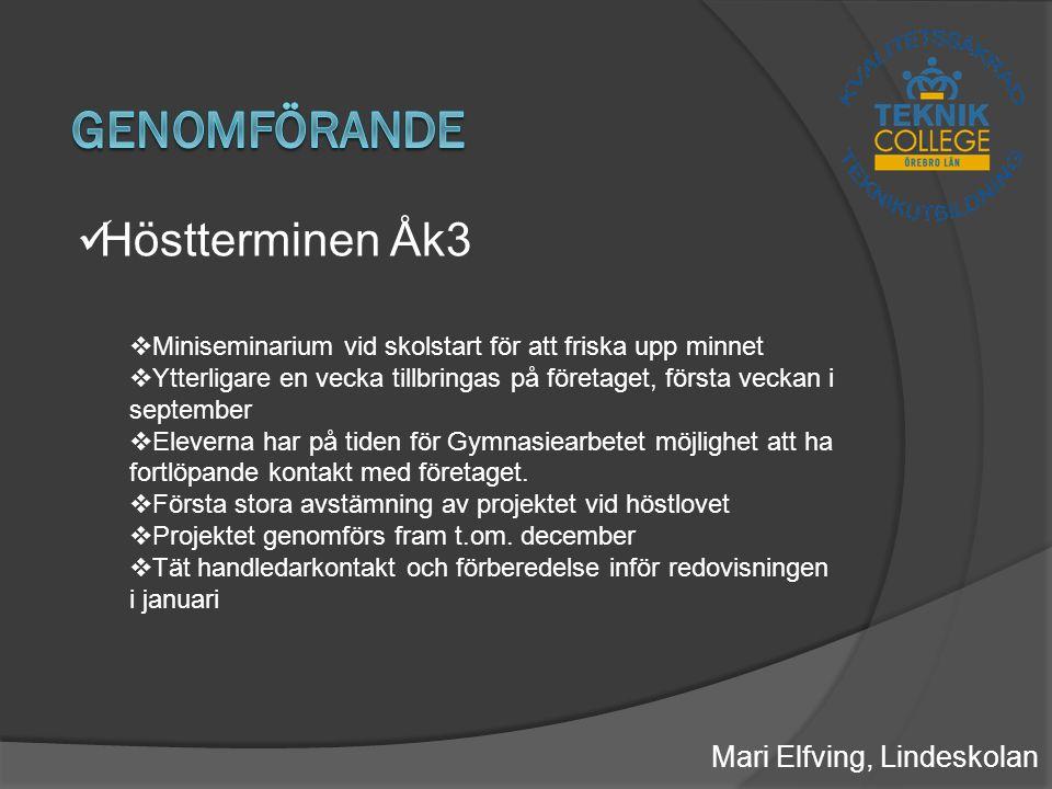 Mari Elfving, Lindeskolan Höstterminen Åk3  Miniseminarium vid skolstart för att friska upp minnet  Ytterligare en vecka tillbringas på företaget, första veckan i september  Eleverna har på tiden för Gymnasiearbetet möjlighet att ha fortlöpande kontakt med företaget.