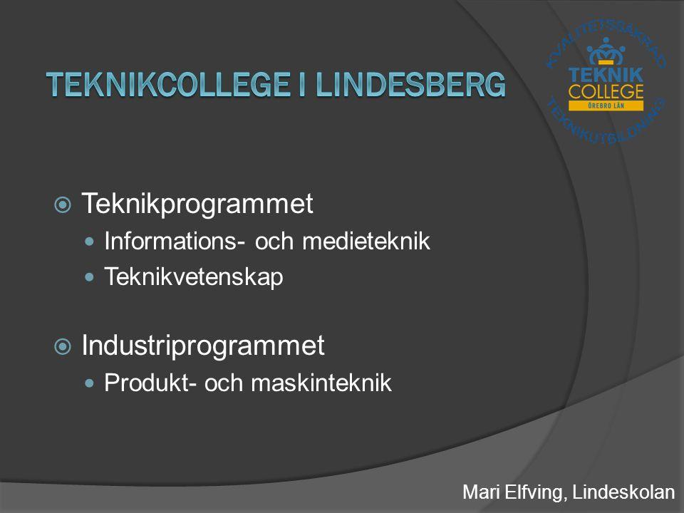  Teknikprogrammet Informations- och medieteknik Teknikvetenskap  Industriprogrammet Produkt- och maskinteknik Mari Elfving, Lindeskolan