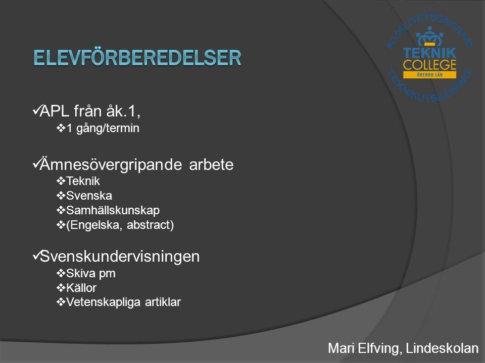 Mari Elfving, Lindeskolan Verklighetsförankringen  Riktiga jobb  Produktutveckling Samarbetet skola-näringsliv  Arbetslivet = verkligheten  Krav