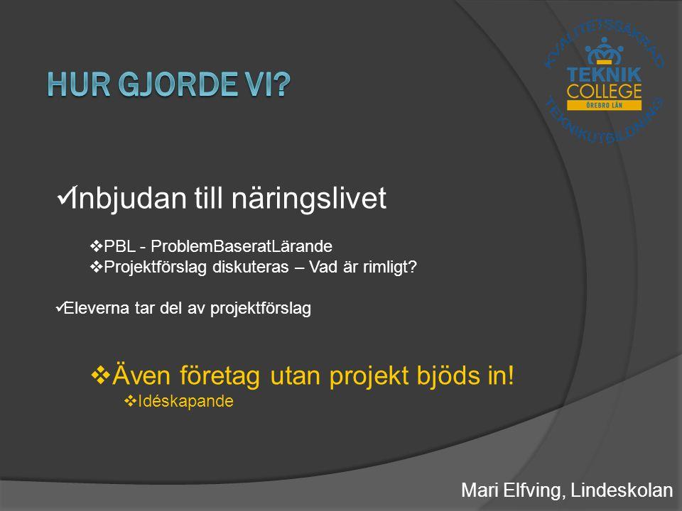 Mari Elfving, Lindeskolan Inbjudan till näringslivet  PBL - ProblemBaseratLärande  Projektförslag diskuteras – Vad är rimligt.