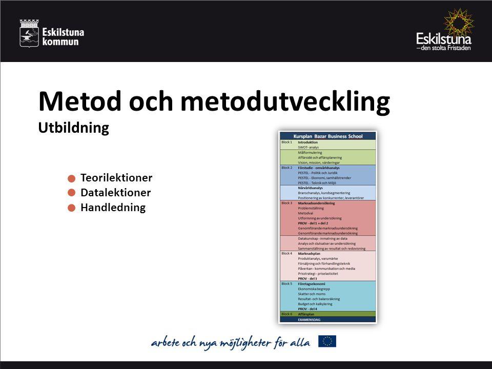 Metod och metodutveckling Utbildning Teorilektioner Datalektioner Handledning