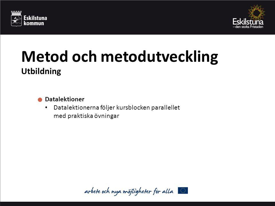 Metod och metodutveckling Utbildning Datalektioner Datalektionerna följer kursblocken parallellet med praktiska övningar
