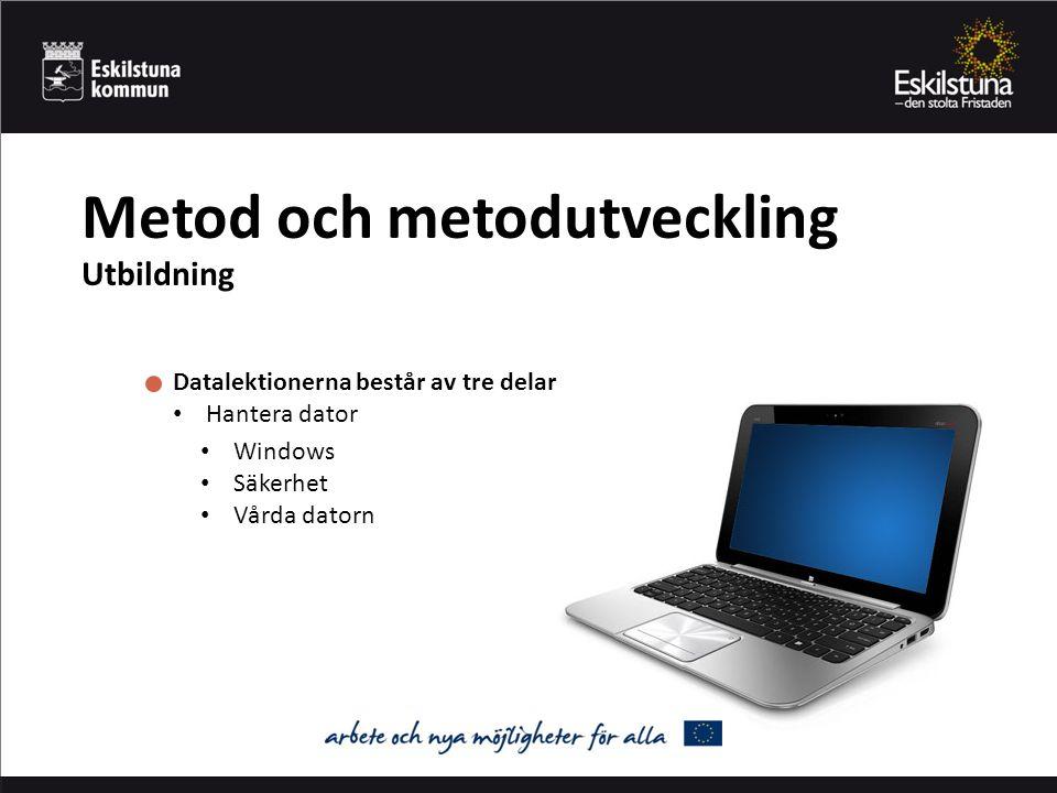 Metod och metodutveckling Utbildning Datalektionerna består av tre delar Hantera dator Att söka på internet Officepaketet Windows Säkerhet Vårda datorn