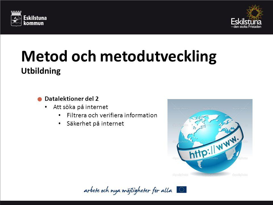 Metod och metodutveckling Utbildning Datalektioner del 2 Att söka på internet Filtrera och verifiera information Säkerhet på internet
