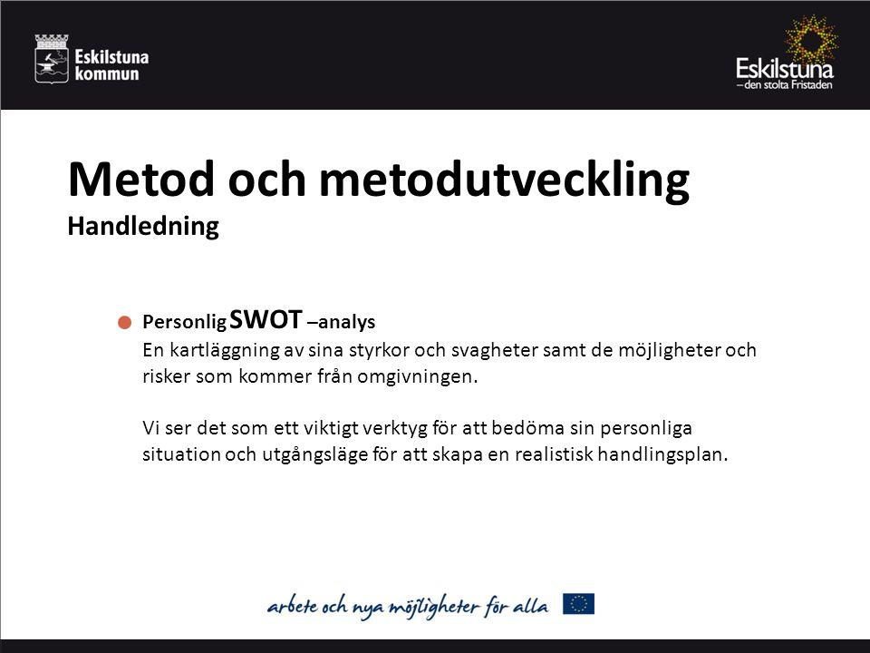 Metod och metodutveckling Handledning Personlig SWOT –analys En kartläggning av sina styrkor och svagheter samt de möjligheter och risker som kommer från omgivningen.