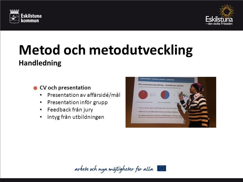Metod och metodutveckling Handledning CV och presentation Presentation av affärsidé/mål Presentation inför grupp Feedback från jury Intyg från utbildningen