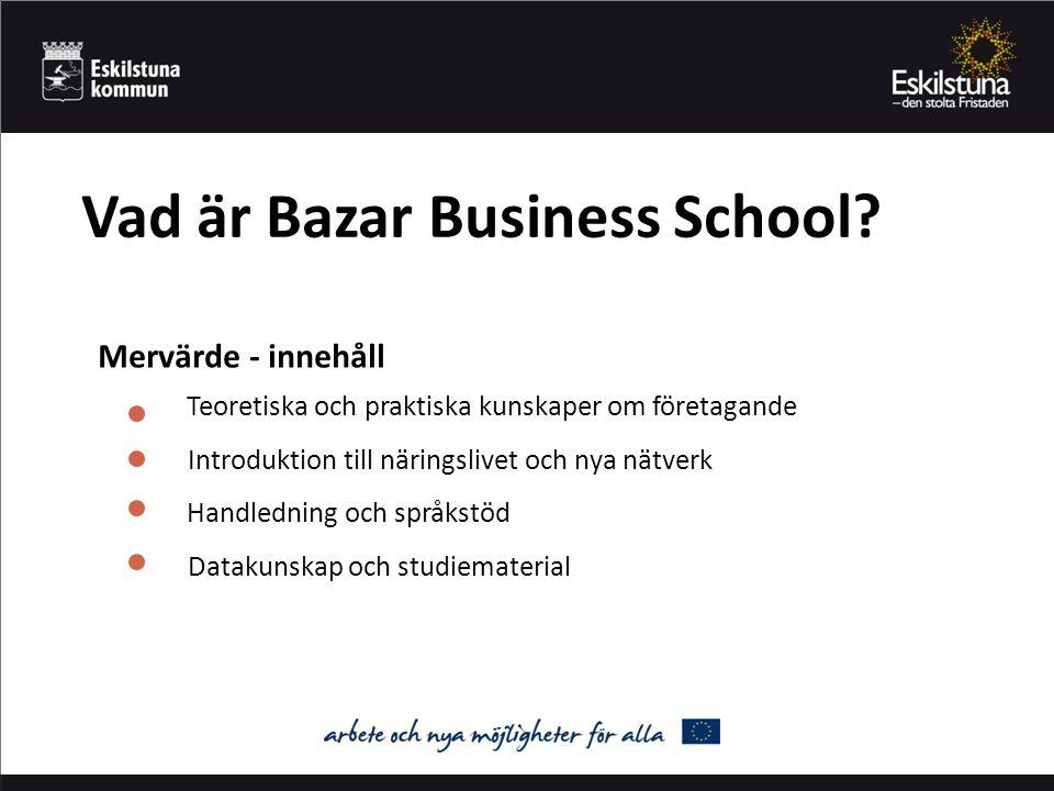 Lärdomar och slutsatser Teoripaketet Metoden Handledare med områdeskompetens Utnyttja befintligt nätverk Beakta tiden för en eventuell fortsättning Bazar Business School