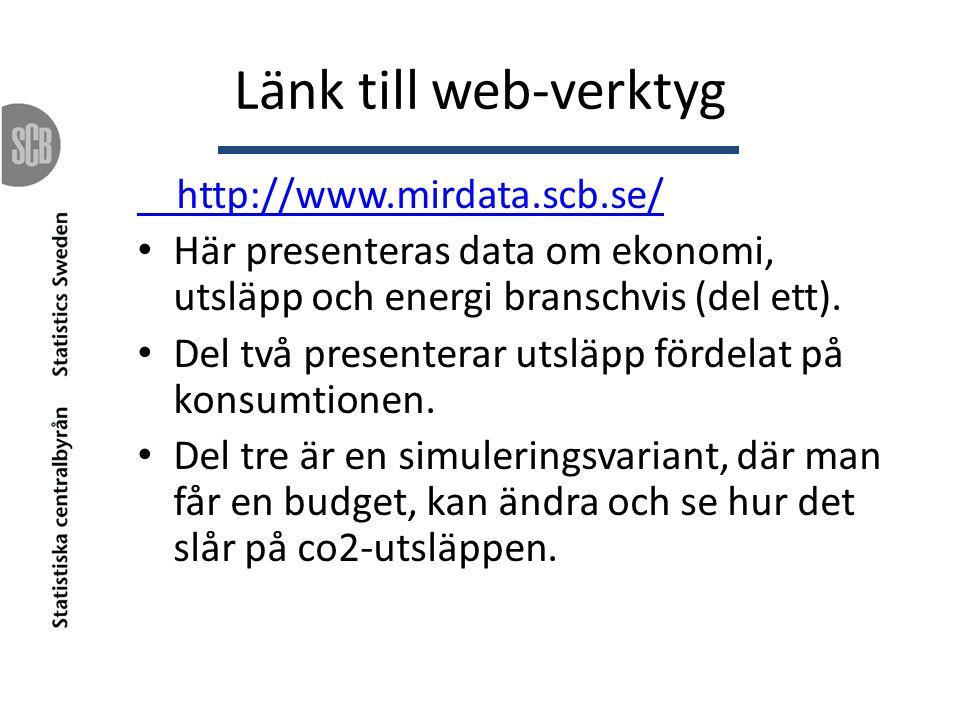 Länk till web-verktyg http://www.mirdata.scb.se/ Här presenteras data om ekonomi, utsläpp och energi branschvis (del ett). Del två presenterar utsläpp
